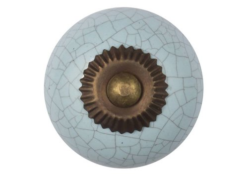 Keramik Möbelknopf hellblau krakeliert - dunkler Beschlag