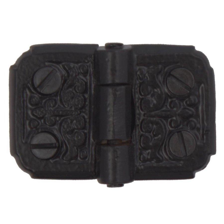 Gusseisen Möbelscharnier Deko 52 x 35mm - schwarz