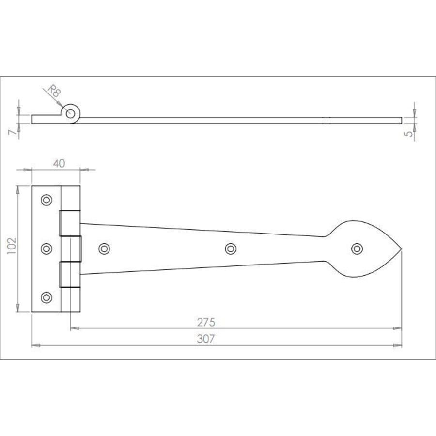 Gusseisen Scharnier Speer 275mm