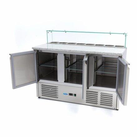 Maxima Pizzatisch - Gekühlt - 8 x 1/6 - 0 bis 10 °C - mit 3 Türen und Glasaufsatz - 230 Watt