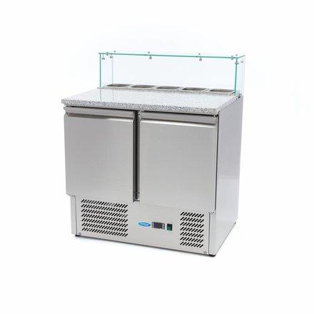 Maxima Pizzawerkbank / Pizzatafel / Pizza Saladette - 2 Deuren - Glas