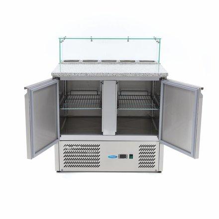 Maxima Pizzatisch - Gekühlt - 5 x 1/6 - 0 bis 10 °C - mit 2 Türen und Glasaufsatz - 230 Watt