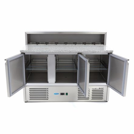 Maxima Pizzatisch - Gekühlt - 8 x 1/6 - 0 bis 10 °C - mit 3 Türen - 230 Watt