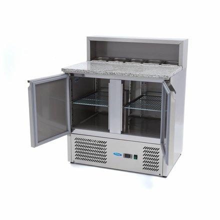 Maxima Pizzatisch - Gekühlt - 5 x 1/6 - 0 bis 10 °C - mit 2 Türen - 230 Watt