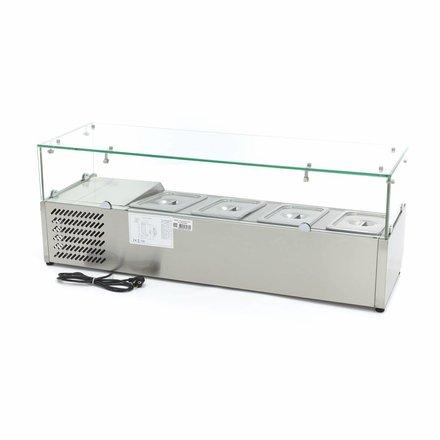Maxima Aufsatzkühlvitrine - 120 cm - 4 x 1/3 GN oder 3 x 1/3 GN + 1/2 GN - 0 bis 10 °C - 200 Watt