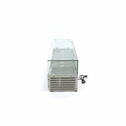 Maxima Aufsatzkühlvitrine - 140 cm - 6 x 1/3 GN - 0 bis 10 °C - 200 Watt
