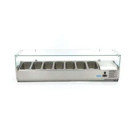 Maxima Aufsatzkühlvitrine - 160 cm - 7 x 1/3 GN - 0 bis 10 °C - 200 Watt