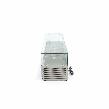 Maxima Aufsatzkühlvitrine - 150 cm - 6 x 1/3 GN oder 5 x 1/3 GN + 1/2 GN - 0 bis 10 °C - 200 Watt