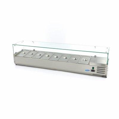 Maxima Aufsatszkühlvitrine / Gekühlte Aufsatzvitrine 180 cm - 1/3 GN