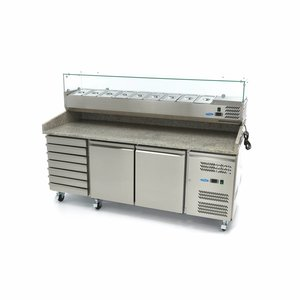 Maxima Refrigerated Pizza Table - 2 Doors - 7 Drawers - 202 cm - Incl. Refrigerated Display