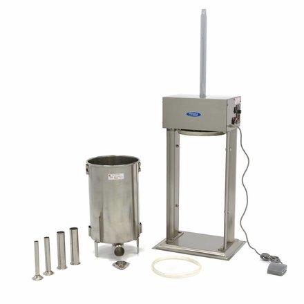 Maxima Automatischer Wurstfüller - Elektrisch - 20 l - Vertikal - Edelstahl - 4 Füllrohre - 120 Watt
