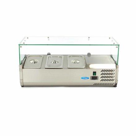 Maxima Aufsatzkühlvitrine - 95 cm - 3 x 1/3 GN - 0 bis 10 °C - 200 Watt