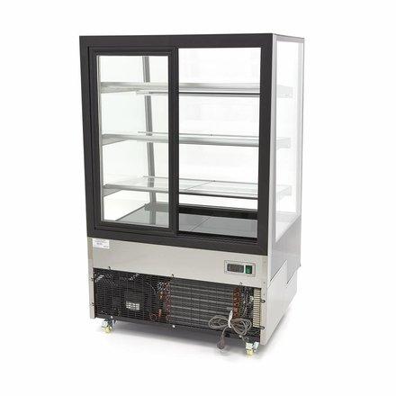 Maxima Kuchenvitrine - Schwarz - 400 l - 0 bis 12 °C - mit 4 Rollen - 450 Watt