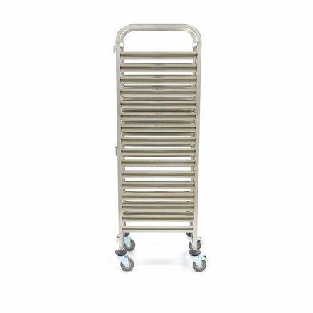 Maxima Tablettwagen Bäckerei - 16 X 1/1 GN - Edelstahl - mit 4 Rollen und 2 Bremsen