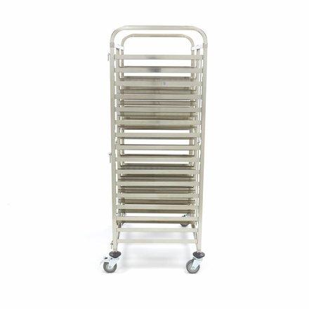 Maxima Tablettwagen Bäckerei - 32 Ebenen à 600 x 400 mm - Edelstahl - mit 4 Rollen und 2 Bremsen