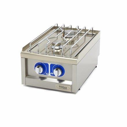Maxima Commercial Grade Cooker - 2 Burners - Gas - 40 x 60 cm