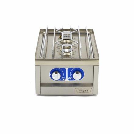 Maxima Commercial Klasse Gastro Kochplatte - Gas - 400 x 600 mm tief - 2 Brenner - 3500 + 5000 Watt