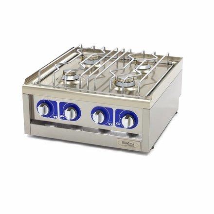 Maxima Commercial Klasse Gastro Kochplatte - Gas - 600 x 600 mm tief - 2 Brenner - 2 x 5000 Watt + 2 x 3500 Watt