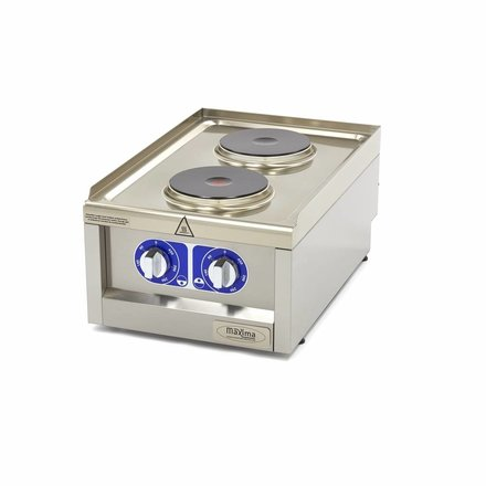 Maxima Commercial Klasse Gastro Kochplatte - Elektrisch - 400 x 600 mm tief - 2 Brenner - 3500 Watt