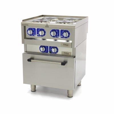 Maxima Professionele Horeca Kookplaat - 4 Pitten - Met Oven - Elektrisch- 60 x 60 cm