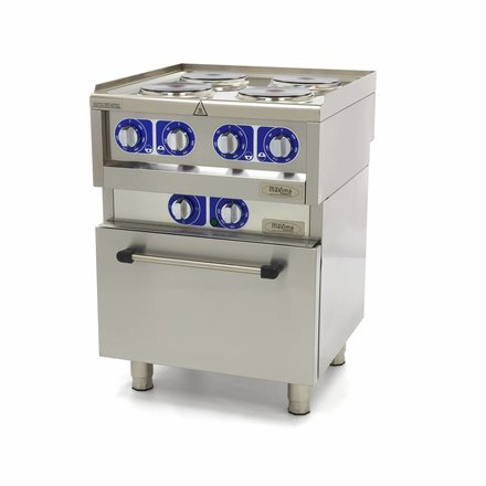 Maxima Commercial Grade Stove - 4 Burners - With Oven - Electric- 60 x 60 cm