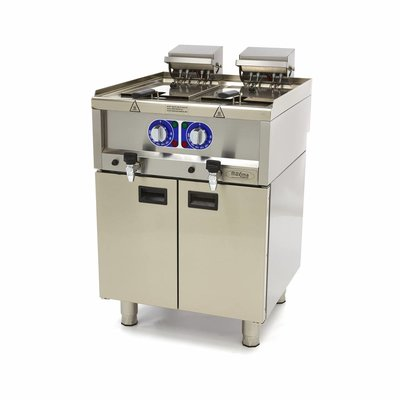Maxima Commercial Grade Fritteuse 2 x 10L - Elektrisch - 60 x 60 cm mit Wasserhahn