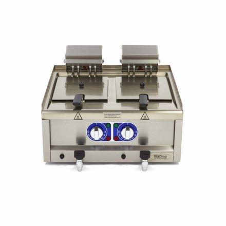 Maxima Commercial Klasse Gastro Fritteuse - Elektrisch - 2 x 10 l Öl - 600 x 600 mm tief - mit Kaltzone und Ablasshahn - 2 x 6000 Watt