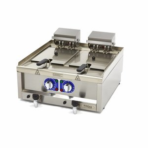 Maxima Commercial Grade Friteuse 2 x 10L - Électrique - 60 x 60 cm avec Robinet