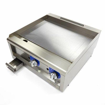 Maxima Commercial Klasse Gastro Grillplatte - Gas - Glatt - 600 x 600 mm tief - mit Spritzschutz - 5000 Watt