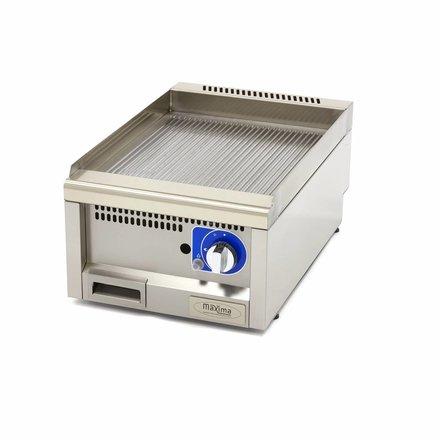 Maxima Commercial Klasse Gastro Grillplatte - Gas - Gerillt - 400 x 600 mm tief - mit Spritzschutz - 3000 Watt