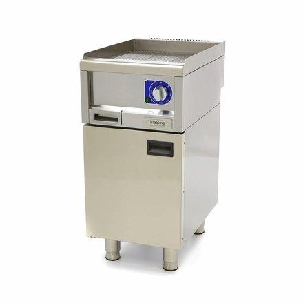 Maxima Commercial Klasse Gastro Grillplatte - Elektrisch - Gerillt - 400 x 600 mm tief - mit Spritzschutz - 3000 Watt