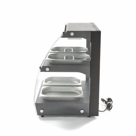 Maxima Wärmevitrine - 4 x 1/2 GN - 2 Ebenen - Geschlossen - Edelstahl - 630 x 470 mm tief - 30 bis 90 °C - 550 Watt