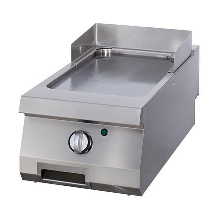 Maxima Gastro Grillplatte Einzel - Glatt - Elektrisch - 400 x 700 mm tief - mit Spritzschutz - 4500 Watt - Heavy Duty