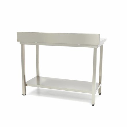 Maxima Stainless Steel Workbench 'Deluxe' 600 x 700 mm with backsplash