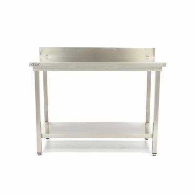 Maxima Stainless Steel Workbench 'Deluxe' 1200 x 700 mm with backsplash