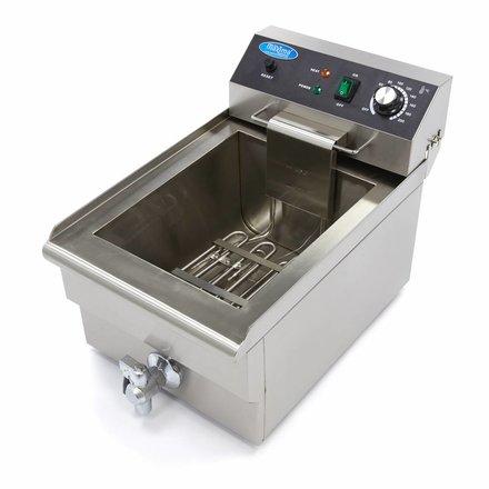 Maxima Gastro Fritteuse - Elektrisch - 1 x 18 l Behälter - 1 x 16 l Öl - mit Ablasshahn und Kaltzone - 3000 Watt