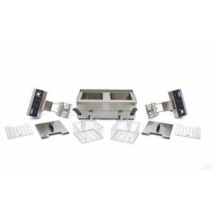 Maxima Gastro Fritteuse - Elektrisch - 2 x 18 l Behälter - 2 x 16 l Öl - mit Ablasshahn und Kaltzone - 2 x 3000 Watt