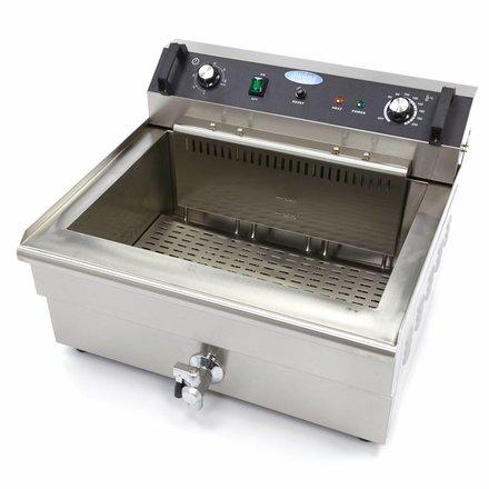 Maxima Backwaren-Fritteuse - Elektrisch - 1 x 38,5 l Behälter - 1 x 30 l Öl - mit Kaltzone und Ablasshahn - 6000 Watt