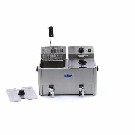 Maxima Gastro Fritteuse - Elektrisch - 2 x 10 l Behälter - 2 x 8 l Öl - mit Ablasshahn und Kaltzone - 2 x 3250 Watt