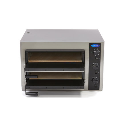 Maxima Gastro Pizzaofen Doppelt - 4 + 4 x 25 cm - 8 Pizzen - 50 bis 500 °C - 6000 Watt - 400 V