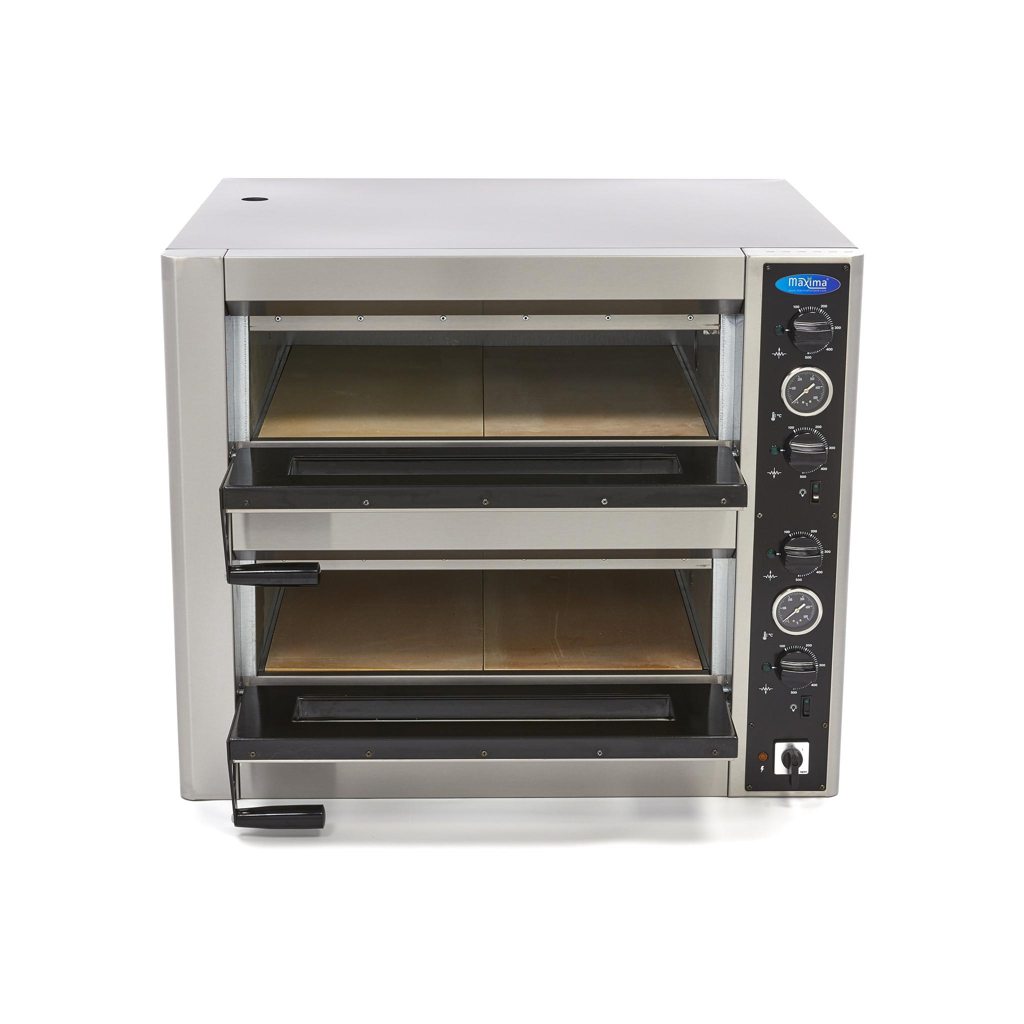 Deluxe Pizza Oven 4 4 X 30 Cm Double 400v Maxima Kitchen Equipment
