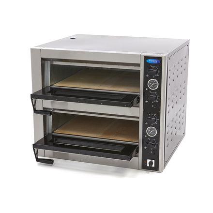 Maxima Gastro Pizzaofen Doppelt - 4 + 4 x 30 cm - 8 Pizzen - 50 bis 500 °C - 10000 Watt - 400 V