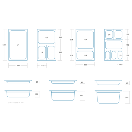 Maxima Gastronormbehälter aus Edelstahl 1/4GN | 65mm | 265x162mm
