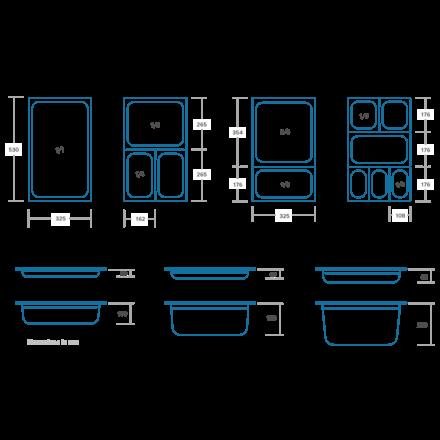 Maxima GN-Behälter Gelocht - 1/3 GN - Edelstahl - 325 x 176 mm - 65 mm tief