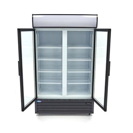 Maxima Displaykühlschrank / Dosenkühlschrank - 700 l - 0 bis 10 °C - mit 2 Drehtüren und 4 Rollen - 680 Watt