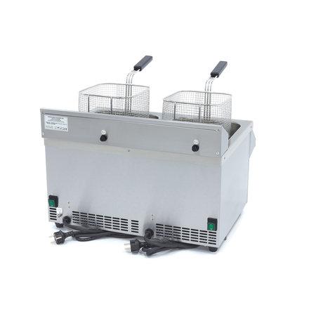 Maxima Induktionsfritteuse - Elektrisch - 2 x 10,5 l Behälter - 2 x 8 l Öl - mit Ablasshahn - 2 x 3500 Watt