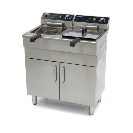 Maxima Gastro Fritteuse - Elektrisch - 2 x 18 l Behälter - 2 x 16 l Öl - mit Ablasshahn, Kaltzone und Schrank - 2 x 5000 Watt