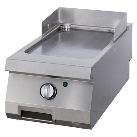 Maxima Gastro Grillplatte Einzel - Chrom - Glatt - Elektrisch - 400 x 900 mm tief - mit Spritzschutz - 6000 Watt