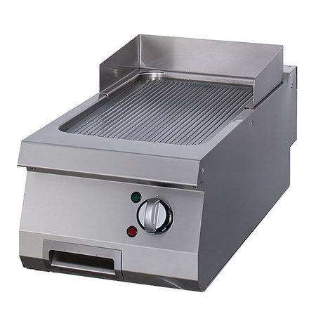 Maxima Gastro Grillplatte Einzel - Chrom - Gerillt - Elektrisch - 400 x 900 mm tief - mit Spritzschutz - 6000 Watt