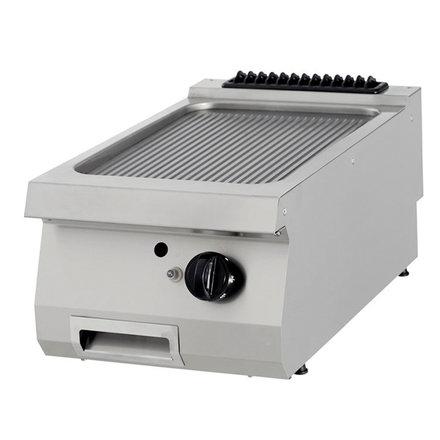 Maxima Gastro Grillplatte Einzel - Gerillt - Gas - 400 x 900 mm tief - mit Spritzschutz - 9000 Watt